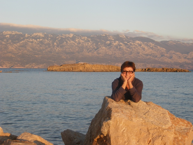 Waiting on Krk for the ferry to the Island of Rab, with the majestic mountains of the mainland in the background. I LOVE CROATIA!