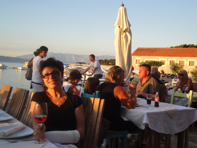 Enjoying a glass of Andro Tomic's wine in Jelsa, Island Hvar